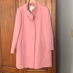 Stunning pink Kate Spade wool coat with bow